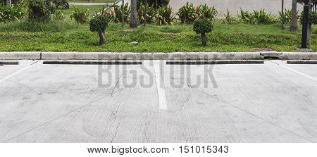 Car Parking Lot with White Marks on concrete road