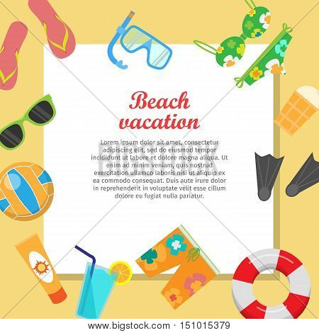 Beach vacation vector concept with place for text. Leisure on seacoast. Coastline with stuff for summer resting and entertainment on sand. For travel company ad, vacation concept, web design
