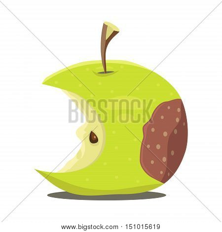 Rotten green apple. Vector illustration. Demage fruit.
