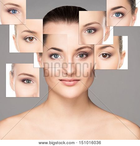 Portrait of young, healthy and beautiful woman (ophthalmology, optometry and contact lenses choice concept)