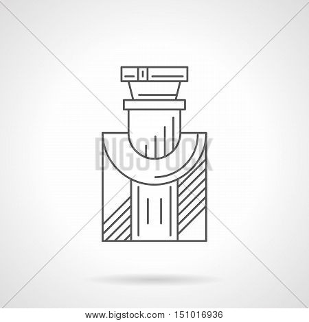 Bottle of mens cologne. Perfume for man series. Cosmetic products, fragrances and perfumery shop. Black flat line vector icon.