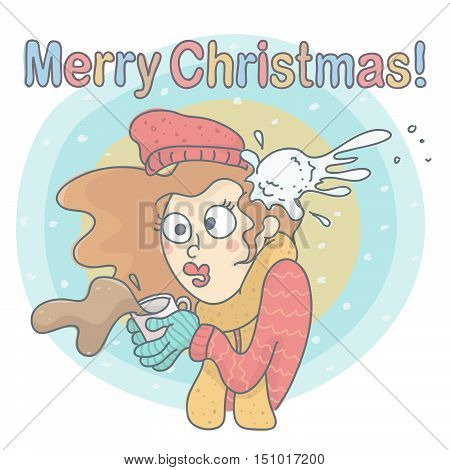 Pretty woman drinking coffee in winter day, being hit by snowball, all on colorful background. Christmas vector cartoon of woman with coffee, shocked by snowball hit.