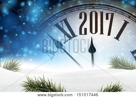 2017 year background with clock, fir branches and snow. Vector illustration.