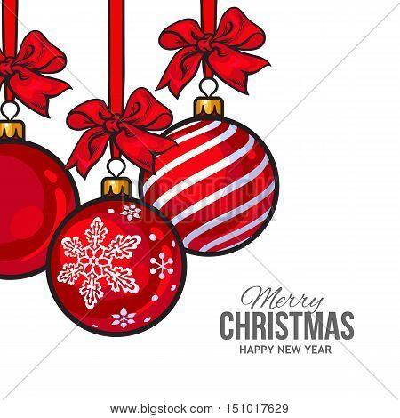 Red Christmas balls with red ribbon and bows, vector greeting card template. Set of red Christmas decoration balls, solid, striped and with a snowflake, New Year greeting card template