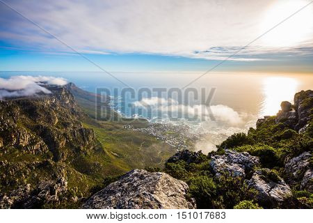 National Park Table Mountain South Africa, Cape Town. View of the sunset in the Atlantic Ocean