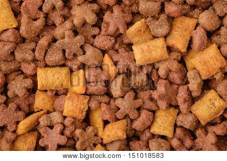 Background dry pet food granules