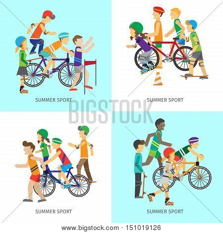 Set of summer sport concepts. Vector in flat style. Women and men in sportswear running, riding bike, skate rollers, skateboard. Victory in sport competition. Moving activity and healthy life.