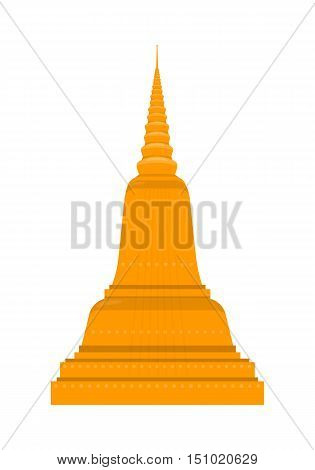 Temple in Thailand isolated on white background. Traditional Thai architecture. Main shrine, Phimai. Wat Chedi Liem. Ancient Wat Arun. Part of series of travelling around the world. Vector illustration