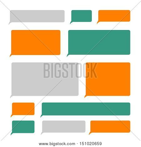 Smartphone blank sms text mobile message bubbles vector set. Template of speech bubble for messaging and chatting illustration