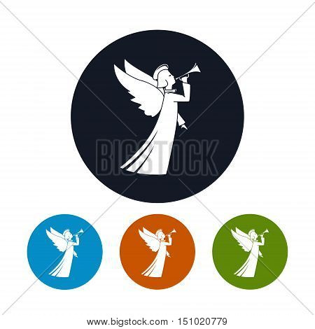 Icon of a Christmas Angel, Four Types of Colorful Round Icons Christmas Angel, Christmas Decorations ,Vector Illustration