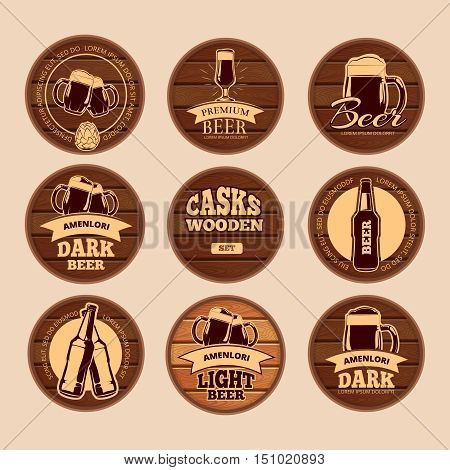 Wooden oak barrel signboards. Retro vector circle alcohol labels for cafe, restaurant, bistro, pub, beer, wine, whiskey. Keg wood with lettering illustration