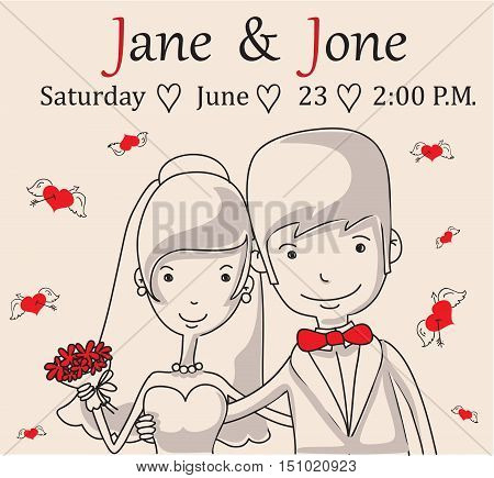 Doodle line design of web banner template with outline cartoon wedding icons.