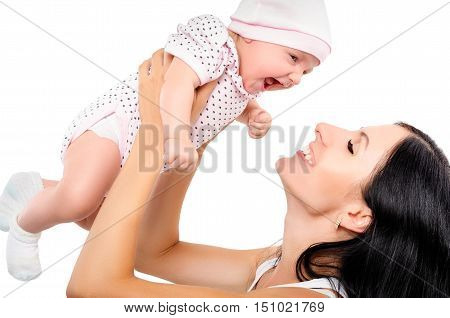 Portrait of a happy mother and baby isolated on white background