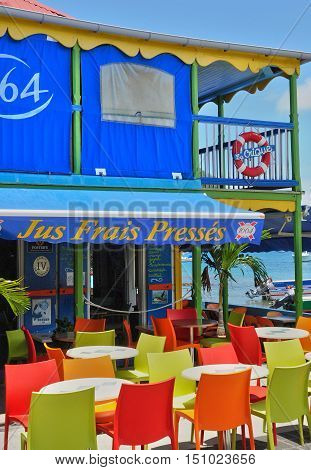 Guadeloupe Les Saintes France - may 8 2010 : a bar in the archipelago of Les Saintes islands in caribbean sea