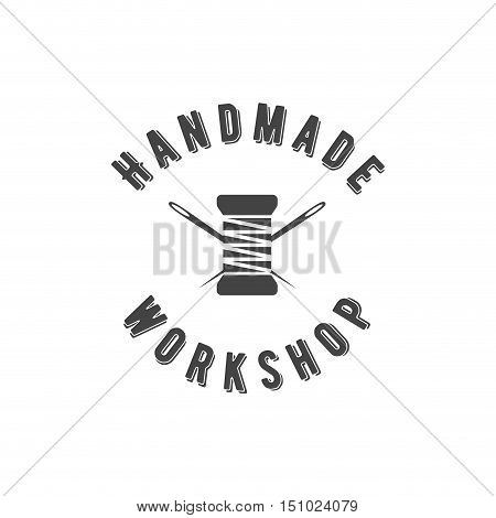 Handmade workshop logo vintage vector. Hipster and retro style. Perfect for your business design. Scissors thread needles