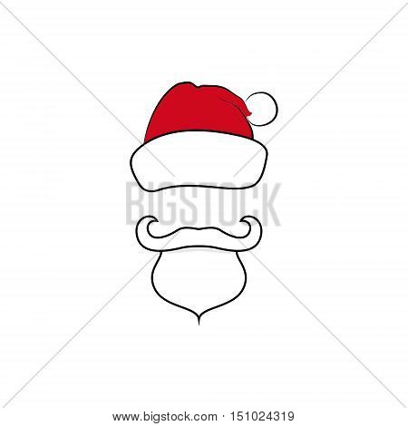 Colorful Santa Claus Face with a Beard Isolated on White Background, Mustache and Hat without a Face, Merry Christmas and Happy New Year, Vector Illustration