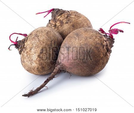 three small beets isolated on white background. Fresh beetroots isolated on white background. Beetroot over white background