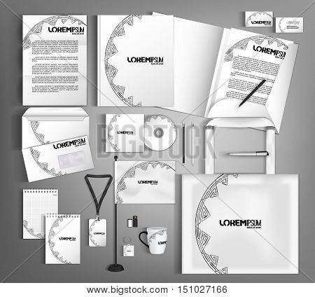 White corporate identity in a classical style with a semicircular element of decor.