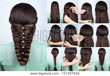 Hair tutorial. Festive hairstyle voluminous braid tutorial. Backstage technique of weaving plait. Hairstyle. Pull through braid. Hairstyle tutorial step by step