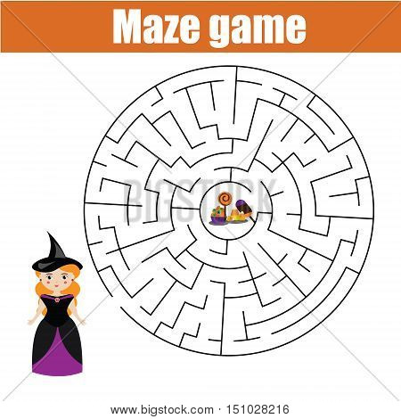 Maze children game: help the halloween girl go through the labyrinth and find candy. Printable worksheet