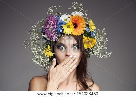 Woman With Flower Wreath On Her Head.