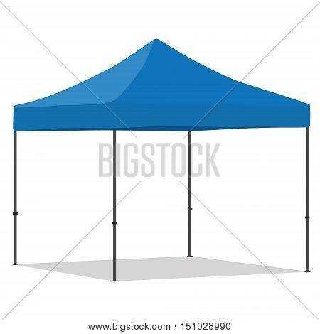 Blue folding tent vector illustration. Pop up gazebo. Canopy tent