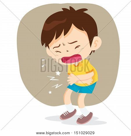 Boy having stomach ache cartoon style vector illustration isolated on white background. Little boy pressing hands to his abdomen sad and sweating