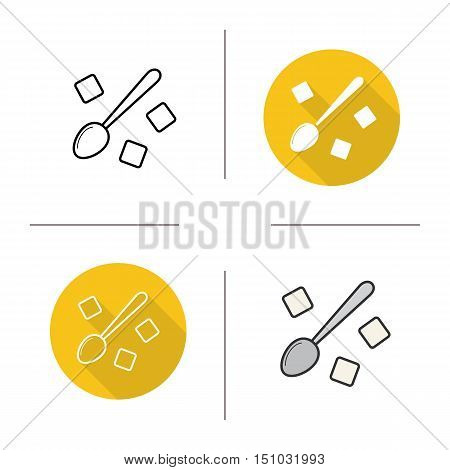 Spoon with refined sugar cubes icon. Flat design, linear and color styles. Teaspoon with sugar isolated vector illustrations
