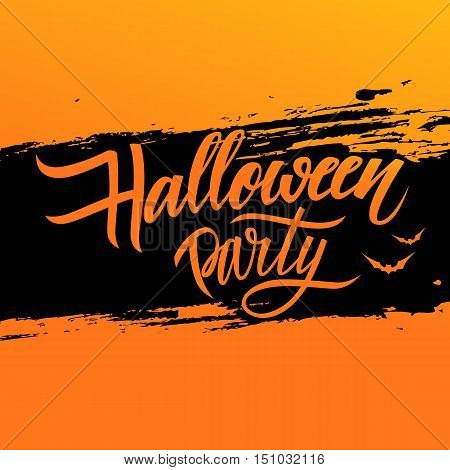 Halloween party poster with calligraphic elements and brush stroke background. Hand drawn lettering. Vector illustration.