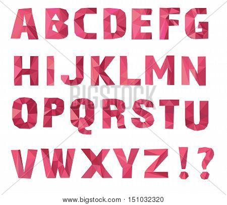 alphabet A, B, C, D, E, F, G, H, I, J, K, L, M, N, O, P, Q, R, S, T, U, V, W, X, Y, Z. Vector illustration. Lowpoly Font. pink color