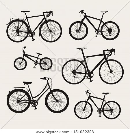 Vector set of bicycle icons in flat style. Guide of bike types. Poster with six bicycles silhouettes (racing/ road bike touring bike mountain bike bmx hybrid and city bike).