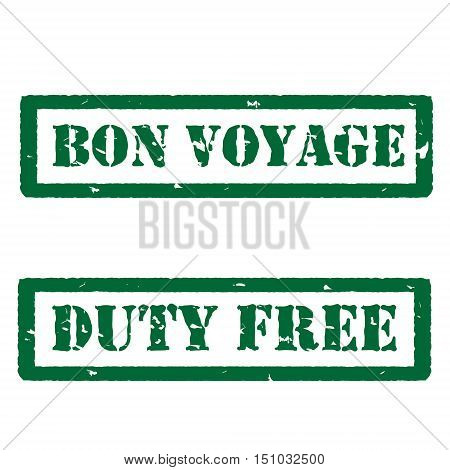 Vector illustration green bon voyage and duty free grunge rubber stamps on white