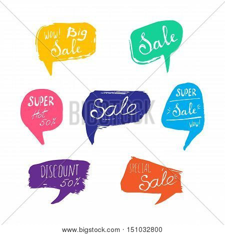 Discount card set of Sale. Hand drawn collection of labels and logos. Vector set of comic speech bubbles stickers.