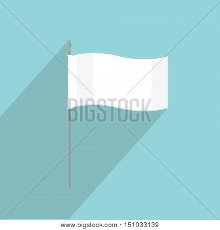 Vector illustration white flag flat icon on blue background. Small flag of surrender