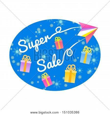 Super sale Concept. Emblem for Christmas special hot deal marketing campaign with gift bonus.Flat design element of season offer banner. Background for advertisement event. Vector illustration