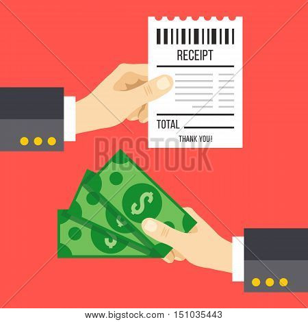 Hand holding receipt and hand holding money. Pay a bill with cash graphic concept. Flat design vector illustration isolated on red background