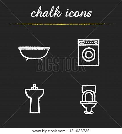 Bathroom interior chalk icons set. Washing machine, bath, toilet, washstand illustrations. Isolated vector chalkboard drawings