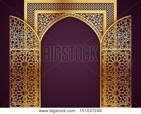 Ramadan background with golden arch wit opened doors with golden arabic pattern background for holy month of muslim community Ramadan Kareem EPS 10 contains transparency