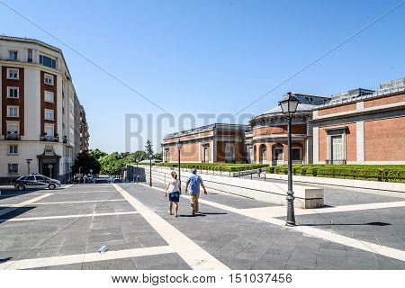 Madrid Spain - July 03 2016: Prado Museum. Back view of the museum on a sunny day. It is the main Spanish national art museum. It features one of the world's finest collections of European art.