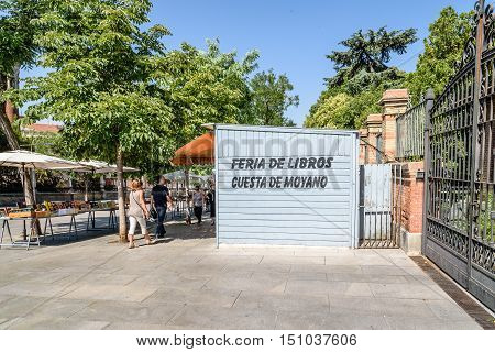 Madrid Spain - July 03 2016: Cuesta Moyano. Old book sale in a quaint street market near Museum of Prado