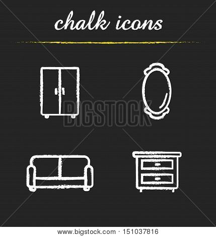 Room interior chalk icons set. Couch, wall mirror, closet and bedside table. Isolated vector chalkboard drawings