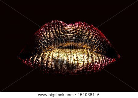 Sexy Golden Metallized Female Lips