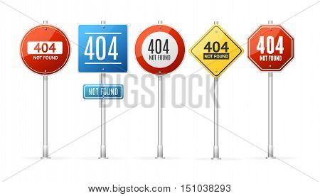 Not Found Error Concept Roadsign Pole Set. Vector illustration