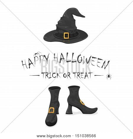 Inscription Happy Halloween and trick or treat with spiders, black witches shoes and hat, with golden buckle, isolated on white background holiday theme illustration.