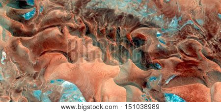 sea bottom,mirage in the Sahara desert,abstract photography deserts of Africa from the air, abstract surrealism, waves in the desert, fantasy in the desert dunes,landscapes of deserts,imaginary shapes