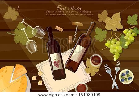 Wine and cheese tasting top view wine bottle and grapes on wooden table cartoon vector illustration