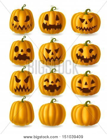 Set of Jack o Lanterns yellow pumpkins isolated on white EPS 10 contains transparency.
