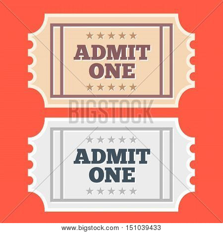 Vector vintage cinema tickets icons set. Isolated on red background