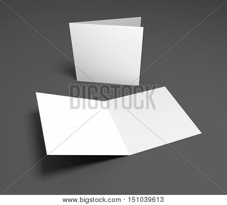 Blank opening square two-leaf greeting card or brochure isolated on gray. 3D rendering mockup.