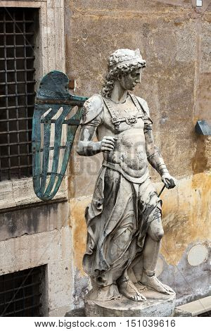 Rome - The Mausoleum of Hadrian (Castel of Sant' Angelo). The original marble statue of the angel by Raffaello da Montelupo.